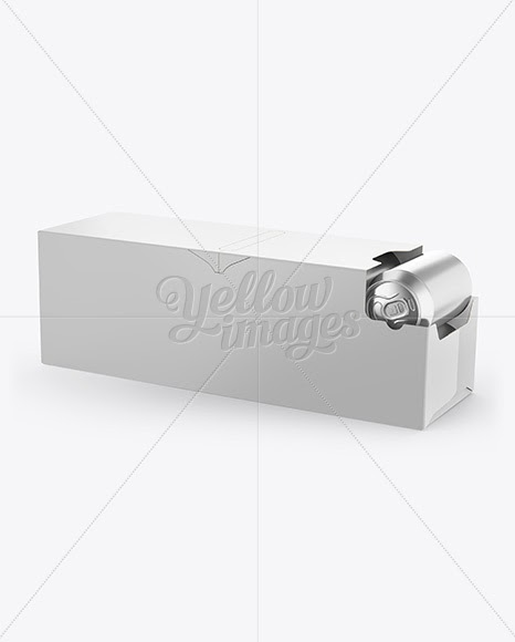 Free 12 Aluminium Cans With Metallic Finish In Shelf-Ready Opened Package Half Side View Mockups