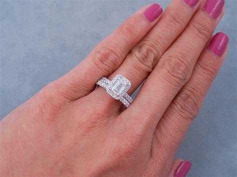 1.63 CTW EMERALD CUT DIAMOND WEDDING RING SET G VS2