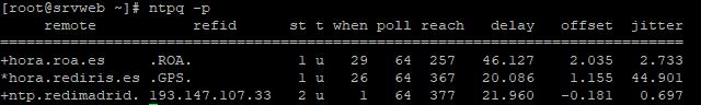 Comprobar sincronización de NTP en Linux, estado de servicio