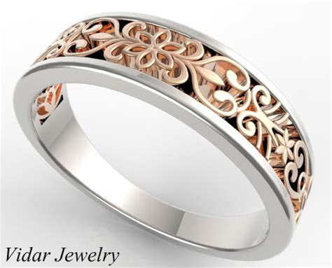 Two Tone Gold Lace Wedding Band   Custom Bridal Jewelry