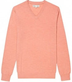 Reiss Hinks Merino V-neck Jumper Watermelon