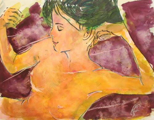 wimvisscher:  Catalogue number Na00390 year autographed 2012  No Title: sleeping beautiful artist Wim Visscher watercolor Afm. 50 x 40 cm   www.wimvisscher.nl
