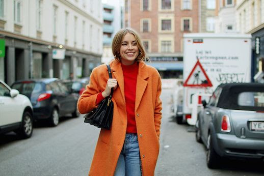 Le Fashion Blog Orange Coat Red Mock Neck Sweater Via Hanna Elle