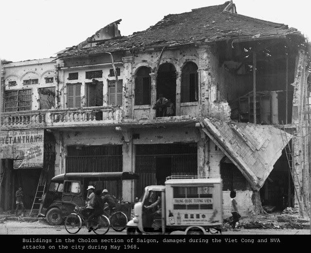 Buildings in the Cholon section of Saigon, damaged during the Viet Cong and NVA attacks on the city during May 1968.