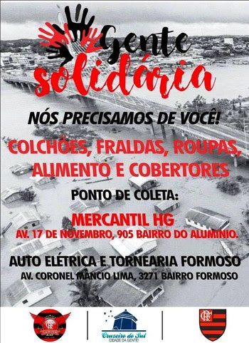 Torcida FlaCruzeiro campanha enchente Cruzeiro do Sul (AC) (Foto: Divulgação/FlaCruzeiro-Acre)