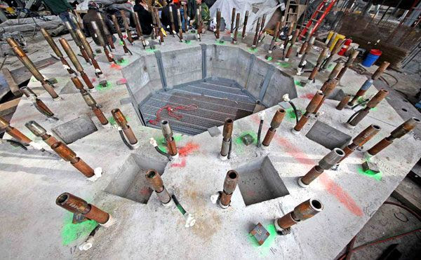 The numerous bolts that will hold the antenna spire in place atop 1 WTC, on January 15, 2013.