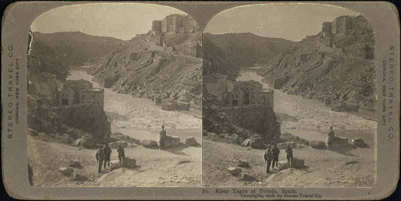 Fotografía estereoscópica de Toledo a inicios del siglo XX. Río Tajo junto a la Casa del Macho. The Omaha Public Library