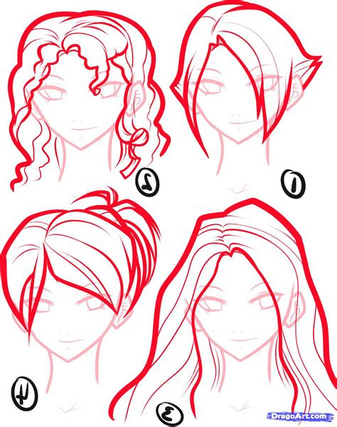 draw anime hair step  step anime hair anime