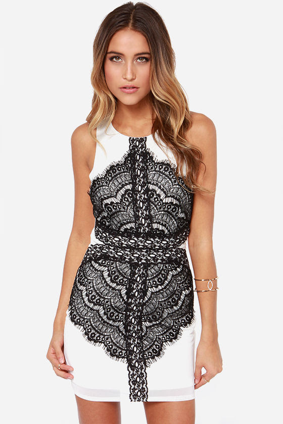 lovely black and white dress  lace dress  bodycon dress