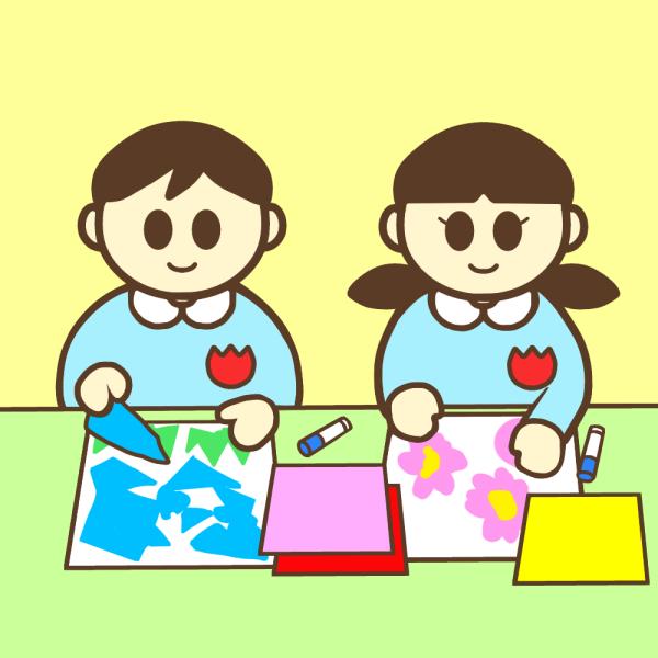 貼り絵をしている園児のイラスト かわいいフリー素材が無料のイラスト