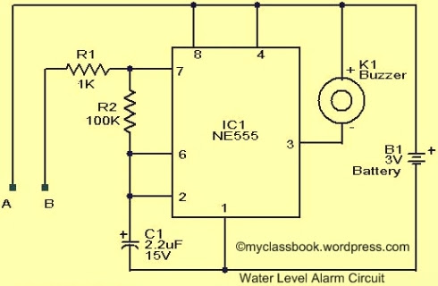 Water Level Indicator Alarm Circuit