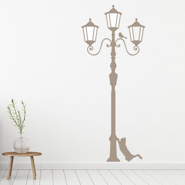 Lamp Post With Cat & Bird United Kingdom Wall Stickers ...