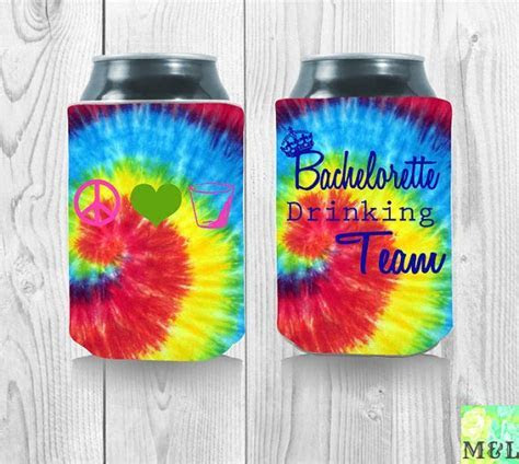Customized Tie Dye Bachelorette Can Koozies by