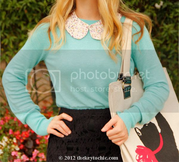 mint green sweater, sequin collar necklace, Jason Wu for Target handbag, LA fashion blog, Los Angeles style