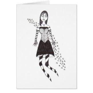creepy heart girl greeting cards