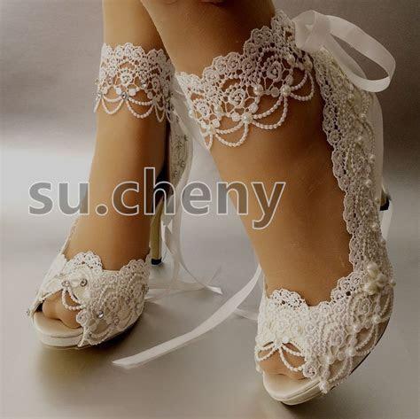"""3"""" 4? heel white ivory satin lace ribbon open toe Wedding"""