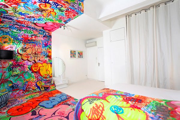 A French Hotel Room Half Covered in Graffiti | Colossal