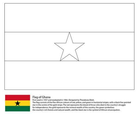 ガーナの国旗 ぬりえ