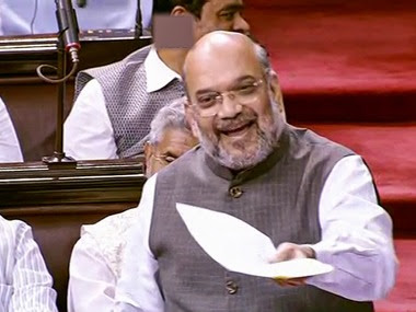 Amit Shah speaks in Rajya Sabha during the ongoing Budget Session of Parliament. PTI