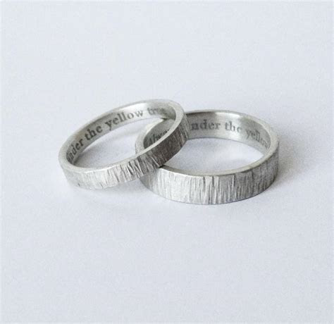 Simple Engraved Wedding Rings   Handmade Hammered Silver