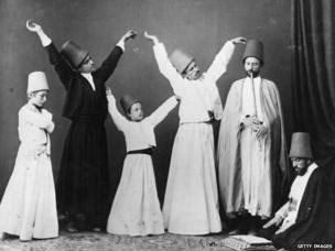 c. 1870 A group of dervishes begin their dance known as the dance of the Whirling Dervishes