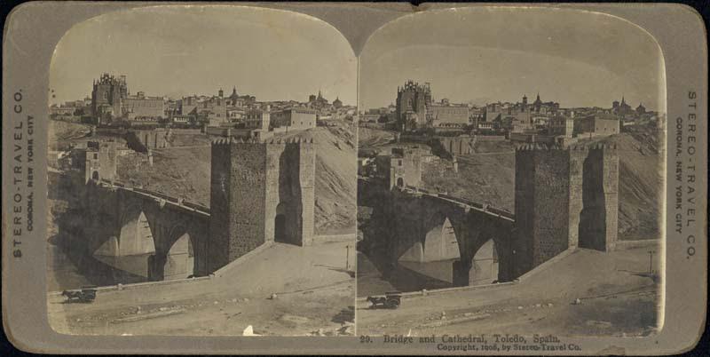 Fotografía estereoscópica de Toledo a inicios del siglo XX. Puente de San Martín. The Omaha Public Library