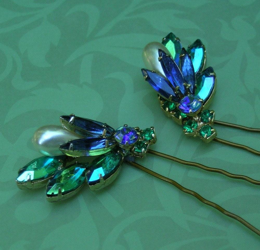 Blue and Green Rhinestone Hairpins