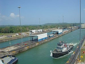 Good view of the locks in the Panama Canal -c
