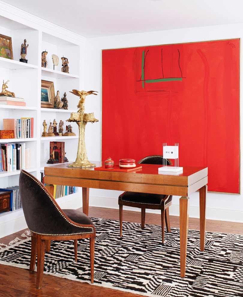 Home Office Decor Dvf Style Better Decorating Red Artwork Black White Ikat Rug