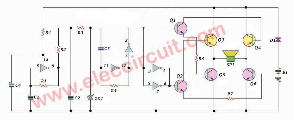 high power siren circuit