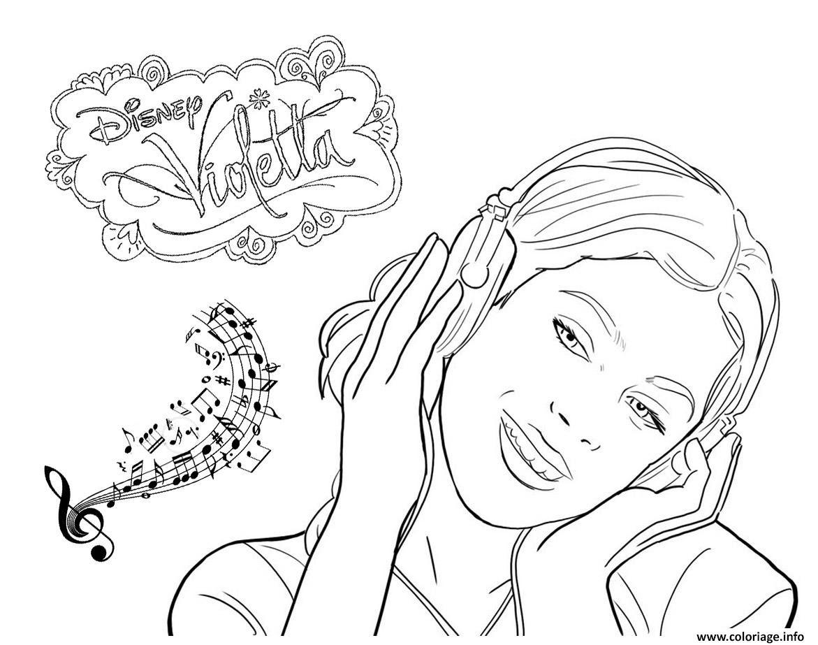 Coloriage Violetta Musique Disney Dessin  Imprimer