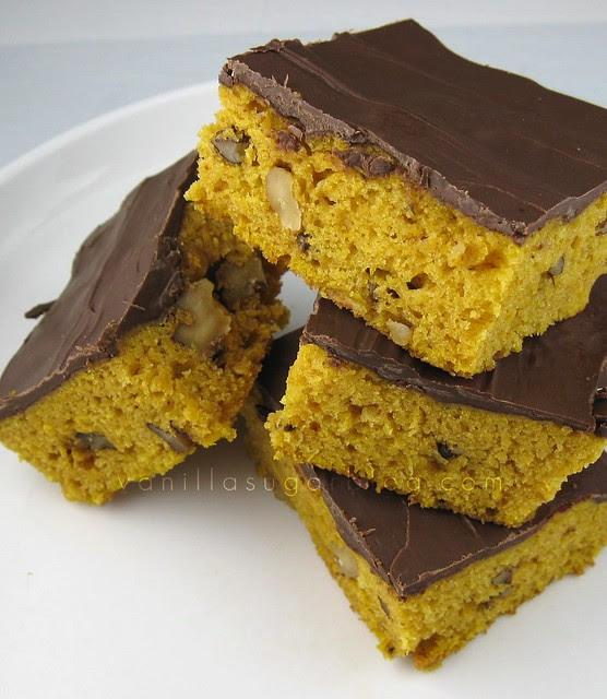 chocolate covered pumpkin-walnut bars