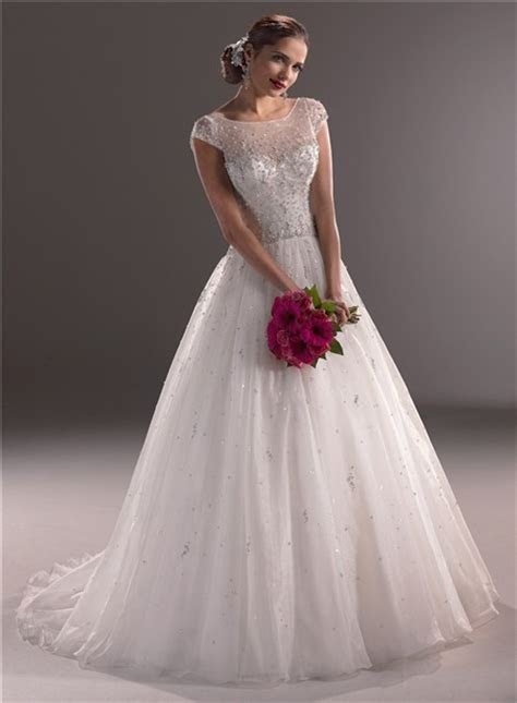 Ball Gown Illusion Neckline Cap Sleeve Tulle Wedding Dress