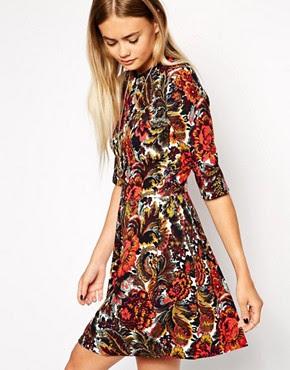 Image 1 ofASOS Tapestry Beaded Skater Dress