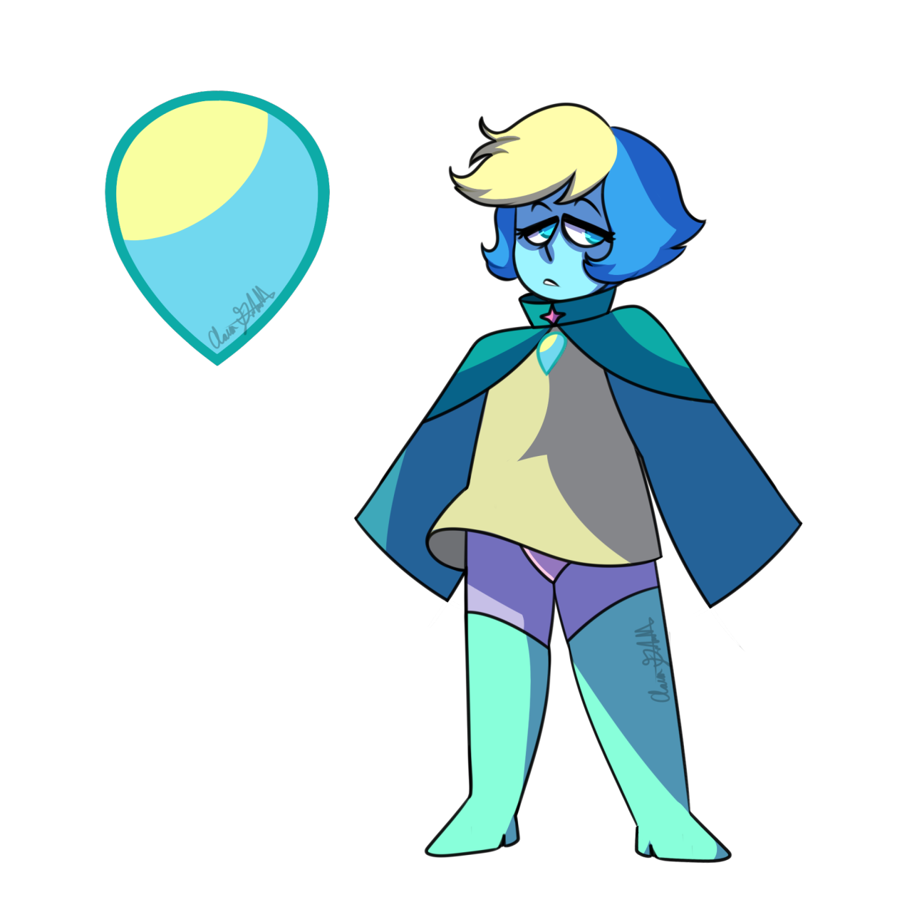 @papayapanda and @digidrift made Gemsonas, so I decided to draw my bab with his new form! His weapon is Telekinesis, and his original Diamond was Pink Diamond, then Blue, then Yellow. Never met...