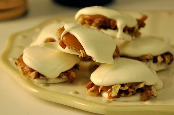 White Chocolate Pecan Caramel Candies