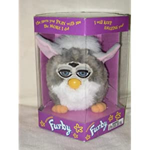 1998 Furby - Gray w/ White Belly & Pink Ears