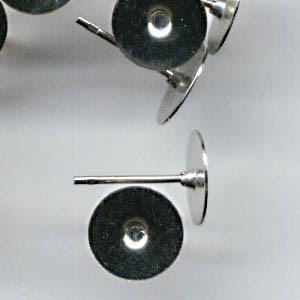 23610922 Findings - Earring - Studs - 8 mm Flat - Nickel (Pair)