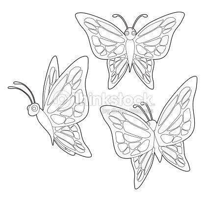 Insectos Mariposa Lindo Set Vector De Dibujos Animados Para Colorear