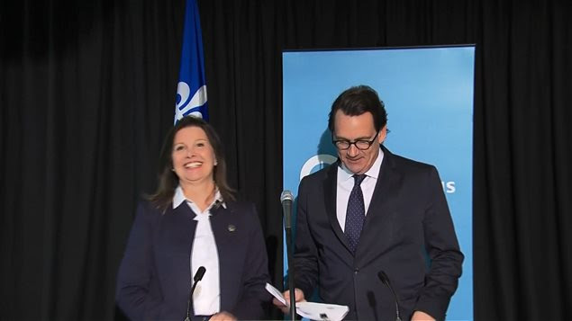 Louise-Andrée Moisan, ex-directrice de la recherche du Parti québécois, en compagnie de Pierre Karl Péladeau (archives).