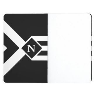 White Stripes and Chevrons on Black with Monogram Journal