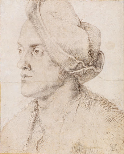 Portrait of the Artist's Brother Endres, Albrecht Dürer, ca. 1518, Charcoal, background later washed with white lead