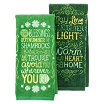 Celebrate St. Patrick's Day Together Irish Blessings 2-pack Green Kitchen Towels