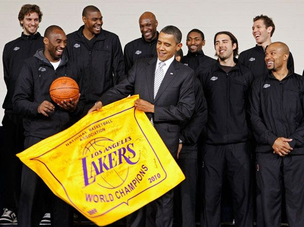 President Obama poses for a group photo with the L.A. Lakers at the Boys and Girls Club in Washington, D.C., on December 13, 2010.