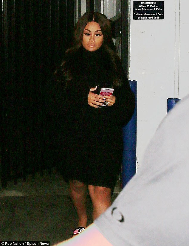 Soon to be reality star: Blac covered her baby bump in a baggy black ensemble as she left a Van Nuys studio on Wednesday