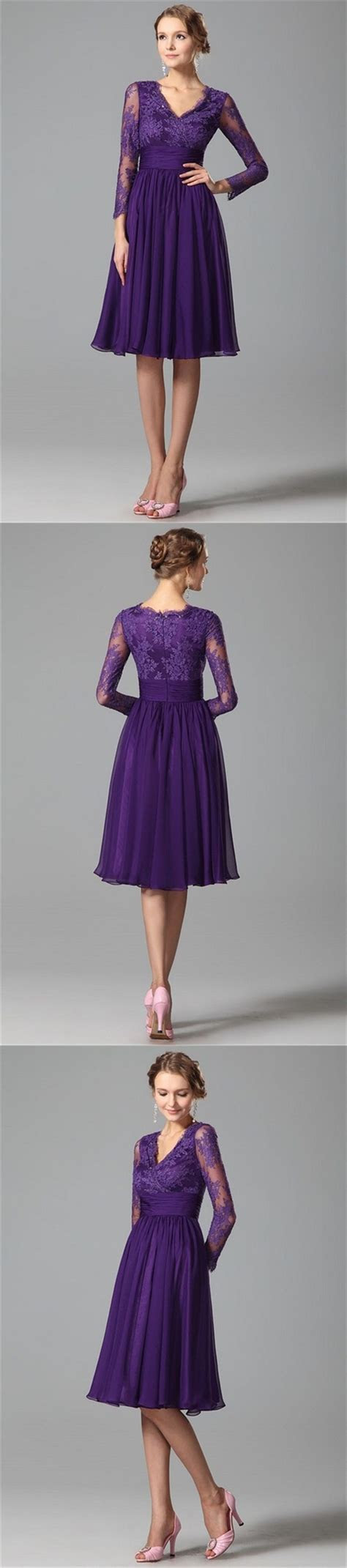 Purple Bridesmaid Dresses 2016 Lace 3/4 Long Sleeves V
