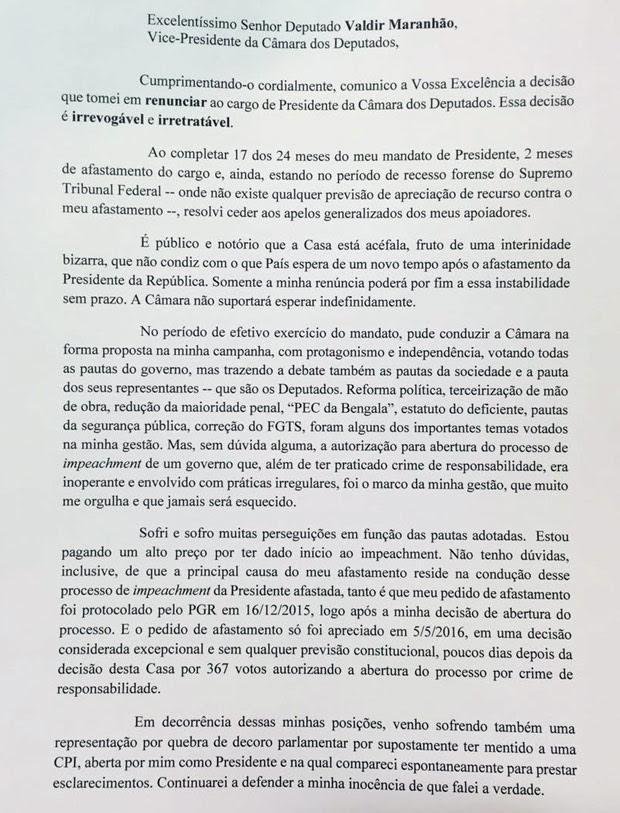 Carta de renúncia do Eduardo Cunha