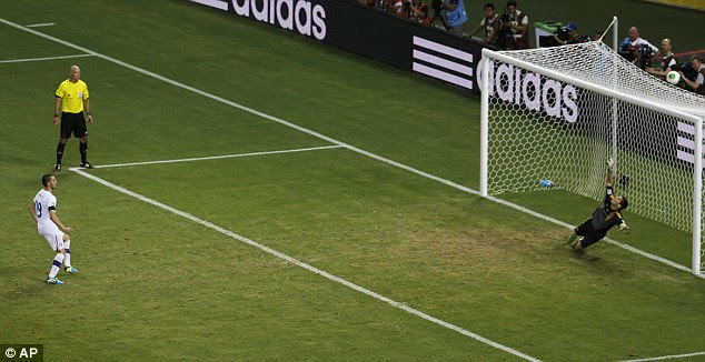 Off target: Italy blinked first in the shout-out when Leonardo Bonucci fired over at 6-6