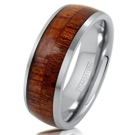 Silver Tungsten Ring w/ Natural Wood Inlay. Wholesale