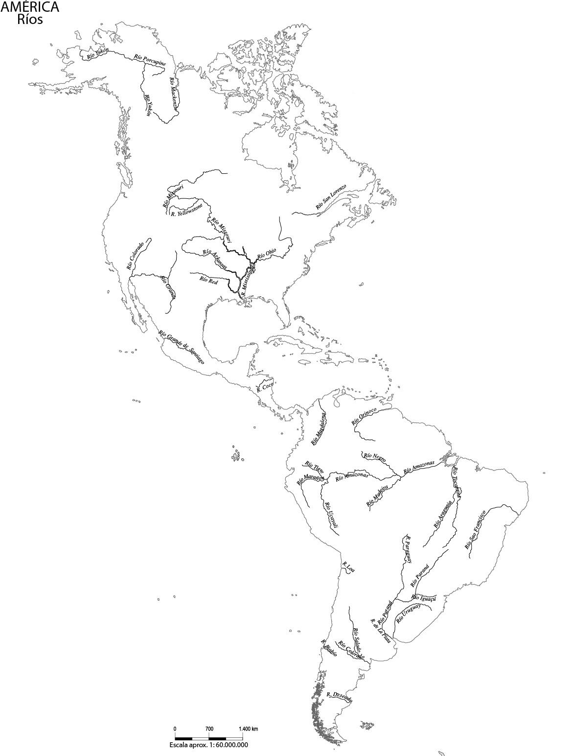Mapa De Ríos De América Mapa De América